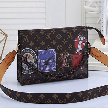LV Louis Vuitton Colorblock Printed Chain Cosmetic Bag Shopping Shoulder Bag Messenger Bag Coffee