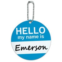 Emerson Hello My Name Is Round ID Card Luggage Tag