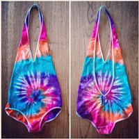 Tie Dye Bodysuit - Festival Apparel - Rave - Sizes XS-XL - Handmade - Michigan made