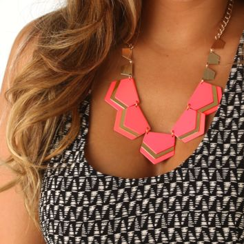 Family Secrets Necklace: Neon Coral/Gold