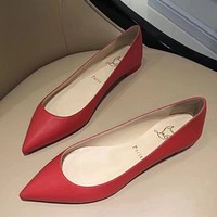 Christian Louboutin Women Fashion Casual Low Heeled Shoes-2