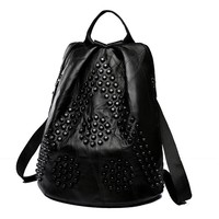 Women Backpack Purse Mochila Solid black Genuine Leather Sheepskin leather Softback Rivet Ruched Cover new style Fashion