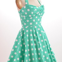 50s Style Mint POLKA Dot TRAVELING CUPCAKE TRUCK Dress with HALTER Petal Bust