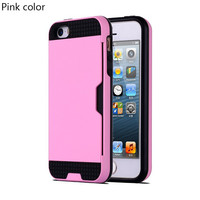 Pink Shock Proof Plastic TPU Hybrid Armor Card Holder Slot Silicone Phone Back Case Cover For Apple iPhone 7 7 Plus 6 Plus 6s Plus 6 6S 5 5S SE