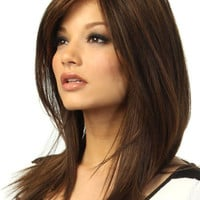 Brown Medium Straight Synthetic Wig