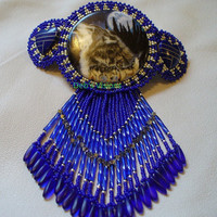 Native American Style Rosette beaded Wolf barrette in Cobalt Blue and Silver