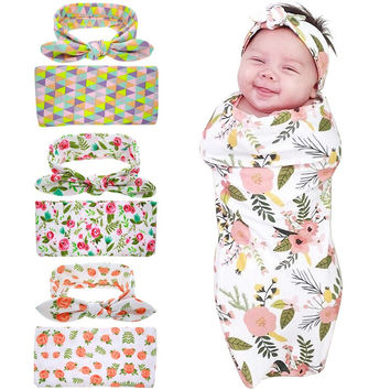 Newborn Swaddle Blanket & headwrap Hospital Swaddled Set Floral baby swaddle photo prop Top knots Watercolour Geometric HB601