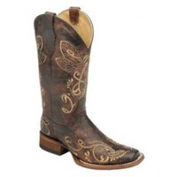Corral Circle G Ladies Cowboy Boots Distressed Brown with Dragonfly Embroidery in Square Toe