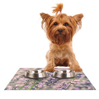 """Robin Dickinson """"Smell the Flowers"""" Lavender Green Dog Place Mat"""