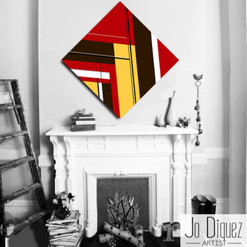 Made to order. Original abstract painting on canvas. 33 3/4x33 3/4. Geometric canvas art. Red painting with brown & yellow. Modern wall art