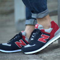 """""""New balance"""" Leisure shoes running shoes men's shoes for women's shoes couples N word Dark blue red"""