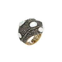 Shay Women's Pave Diamond & Pearl Dome Ring - Black - Size 7.75