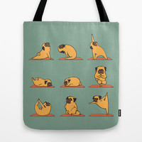 Pug Yoga Tote Bag by Huebucket
