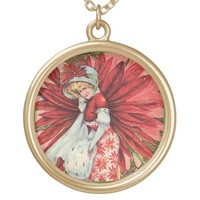 Poinsettia Lady necklace from Jan4insight* on Zazzle