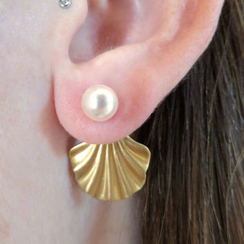 Pearl And Oyster Brass Ear Jackets Earring Post 2-Piece Drop Split Front Back In Out Jewelry Seashell Clam Sea Shell Mermaid Studs