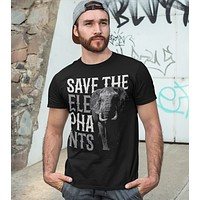 Men's Elephant T Shirt Save The Elephants Shirt Pachyderm Shirts Grunge Elephant TShirt Hipster Shirts