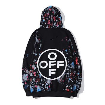 OFF-White new tops, big round letters, colorful ink prints, men and women pullover hoodies