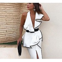Grecia Ruffles Asymmetrical Midi Dress