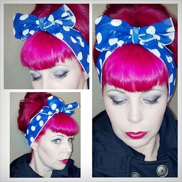 Blue with White Polka Dots Vintage Style Chiffon Hair Scarf Headwrap Hair Bow 1940s 1950s Rockabilly - Pin Up - For Women, Teens Scarves