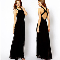 Sexy Black Party Evening Backless Long Sleeveless Cocktail Party Dress Womens