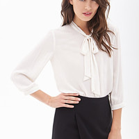 LOVE 21 Tie-Front Chiffon Blouse