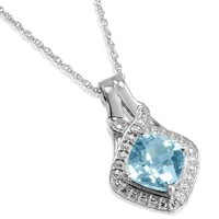 Sky Blue Topaz and Diamond Pendant-Necklace in Sterling Silver 18in. Chain (2.75ct tw)