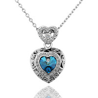 Lady's White Gold Plated Dos Corazones Brass Pendant Necklace with Sparkly Contour and Center Blue Swarovski Crystal