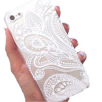 White Floral Henna iPhone Case