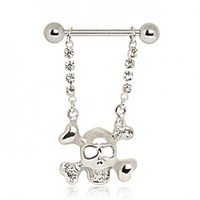 316L Surgical Stainless Steel Nipple Ring With Silver Plated Crossbones And Skull Dangle With Cubic Zirconia Stones - 14G (1.6mm) - Sold Individually