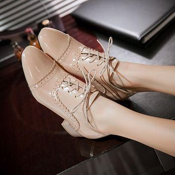 Women Lace Up Laser Mid Heel Shoes