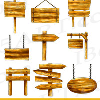 Wooden Signs Variety Styles Clipart Pack With Digital Download Included PNG & JPEG Files Commercial-Use