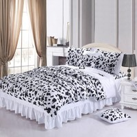 DIAIDI Home Textile,Black And White Bedding Set,Cow Print Bedding Set,Cute Bedding Set,4Pcs,Queen/King Bed Set (5ft bed)