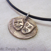comedy and tragedy theater mask golden bronze wax seal jewelry
