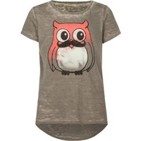 FULL TILT Owl Mustache Girls Tee