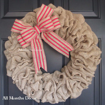 19 Inch Burlap Wreath with Red Stripe Burlap Bow