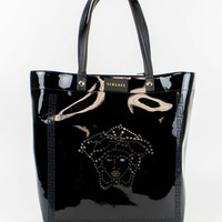 New VERSACE MAINLINE Black Faux Patent Leather Tote Hand Bag $995