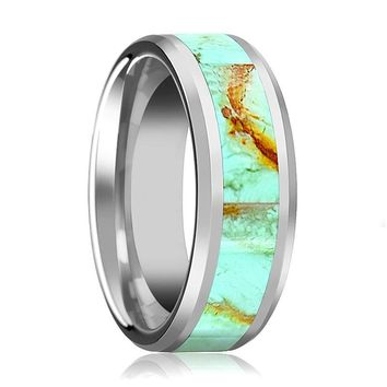 Silver Polished Men's Engagement Ring with Light Blue Turquoise Stone Inlay & Bevels - 8MM