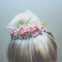Vintage Floral Inspired Bun Cover for Top Knots and Messy Buns in White Cream Colored Flowers Hipster Mini Crown