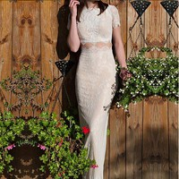 [139.99] Fantastic Lace Bateau Neckline Two-piece Mermaid Wedding Dresses With Lace Appliques - dressilyme.com