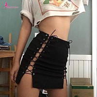 Makkrom 2017 Autumn Lace up High Waist Sexy Pencil Black Skirts Bandage Hollow Out Work Casual Solid Empire Novelty Mini Skirt