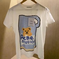 """Acne Studios""Woman Casual Wild Multicolour Fashion Letter Little Bear Printing Loose Large Size Short Sleeve T-Shirt Tops"