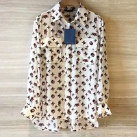 LV Louis Vuitton Newest Women Casual Print Long Sleeve Lapel Shirt Top