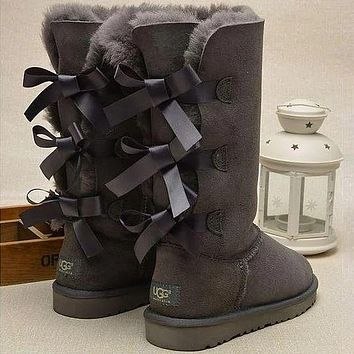 UGG Selling Classic Short Snow Casual Three Bowknot High Top Warm Boots Shoes