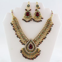 Dazzling Gold and Maroon Bridal Kundan Necklace Set with Earrings