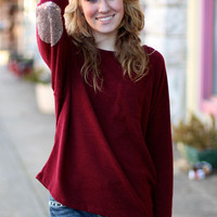 Sequin Elbow Patch Sweater {Wine}
