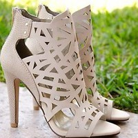 Women's High Heel Sandals Laser Cut Out Design Open Toe Sandal In Dove Gray New