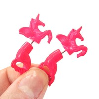 Fake Gauge Earrings: Mythical Unicorn Horse Animal Faux Plug Stud Earrings in Bright Pink