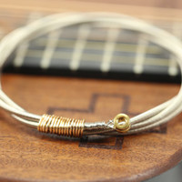 Mens Guitar Bass String Bangle Bracelet with Bass Ball Ends, Gold or Silver - Great Gift for your Man, Guitar String Jewelry