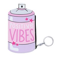 Positive Vibes Pink Spray Can Cute Cool Small/Mini Zip Coin/Change Purse/Bag/Pouch/Wallet