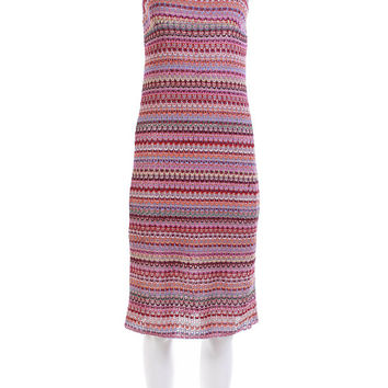 """90's Vintage Dress Pink Rainbow Striped Crochet Knit Midi Bodycon Women's Size Small / 1990's Club Clothing Made in the USA """" Bust"""